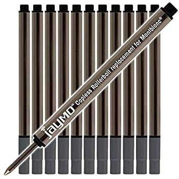 Jaymo Replacement for Montblanc 113777-3.84 in / 97 mm Long - Capless Rollerball Pen Refill - 12 Black