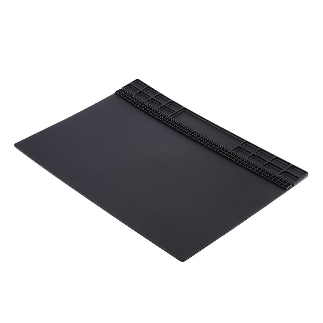 白雪姫農夫分割Shiwaki 作業マット 磁気パッド 断熱パッド マグネットパッド ネジ格納 整理 絶縁 全4色 - ブラック