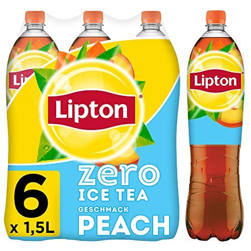 LIPTON ICE TEA Zero Peach, Zuckerfreier Eistee mit Pfirsich Geschmack (6 x 1.5l)