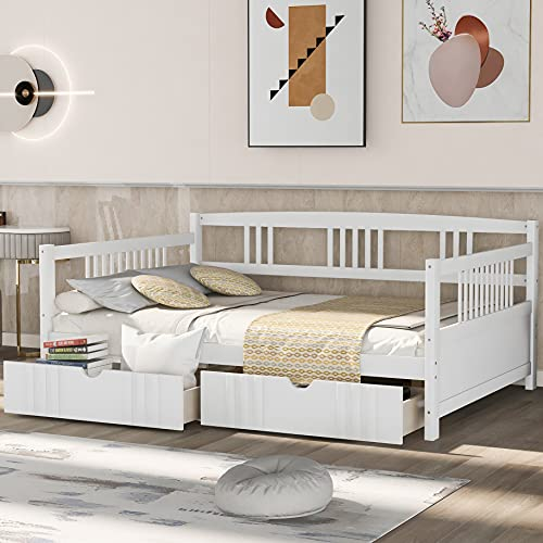Full Daybed Frame with Drawers, Wood Full Bed with Storage Drawers, No Box Spring Needed