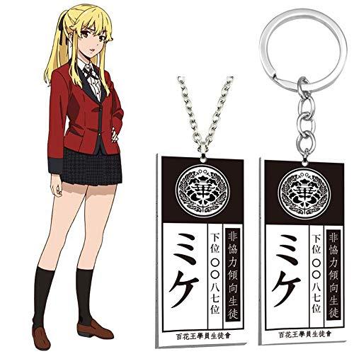Saicowordist Kakegurui Schlüsselanhänger und Halskette Cartoon Anime Acryl Anhänger Tasche Zubehör Geschenk für Anime-Fans (Mary Saotome)