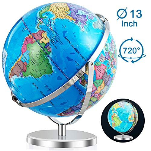 "Goplus 13"" Illuminated World Globe, 720° Rotation Built-in LED Light for Night View, Easy to Read Labels Over 4000 Locations, Desktop Educational Geographic World Globe for Classroom and Office"