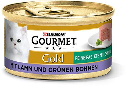 PURINA GOURMET Gold Feine Pastete mit Gemüse Katzenfutter nass, mit Lamm und grünen Bohnen, 12er Pack (12 x 85g)