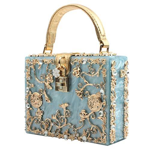 LETODE Bolso de noche de acrílico con diamantes de imitación de cristal de estilo vintage para mujer Bolso de embrague para fiesta de boda Bolso de terciopelo elegante y chispeante (5143-AZUL)