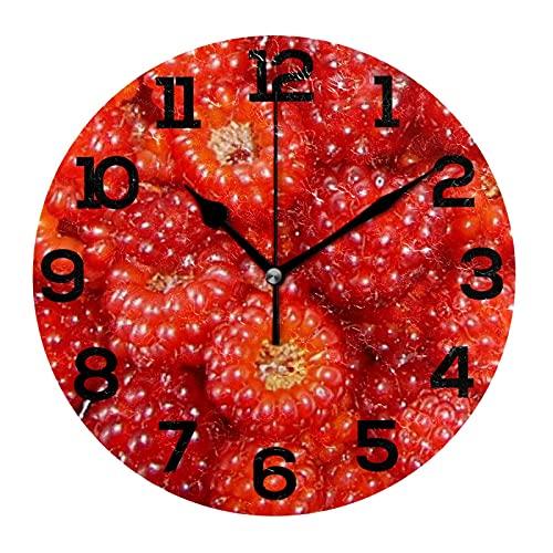 AMONKA Reloj de pared de acrílico redondo de frutas frambuesa que no hace tictacs silenciosos relojes para decoración del hogar, sala de estar, cocina, dormitorio, oficina, escuela
