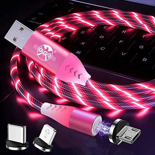 UGI 3-in-1 magnetische 3A snelle oplaadkabel Creatieve LED-lamp die oplicht Micro USB/IOS/Type USB C Datasynchronisatie Magnetische kabel Compatibel met alle apparaten - Rood/6.6ft
