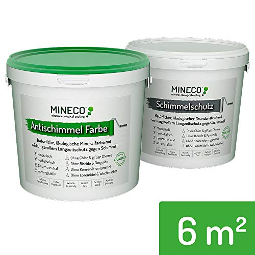 Mineco Antischimmelfarbe 6 m² / Weiß - Natürliche, Ökologische, Chlorfreie, Allergiker-geeignete Schimmelschutzfarbe Schimmelschutz Langzeit-Schutz Gegen Schimmel Flecken