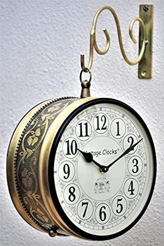 Vintage Clock Iron Vintage Look Double Side Railway Style Clock (Brass , 3.9 X 5.9 X 5.9 Inch)