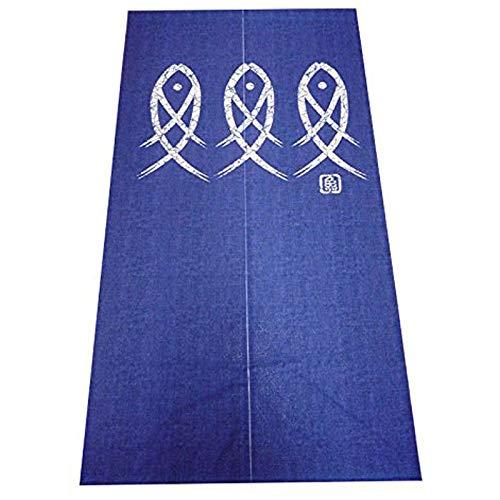 Cikuso Cortina de Puerta Japonesa Noren Tapiz de Pescado de Personaje Antiguo para DecoracióN del Hogar Azul 33X59 Pulgadas