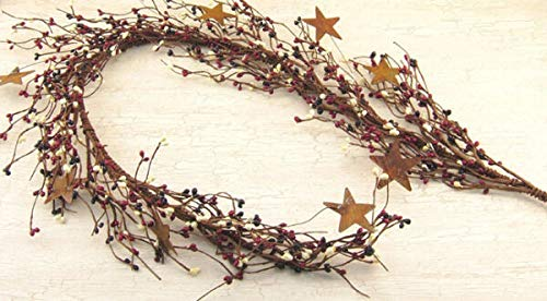 for Primitive Country Americana RED White Blue Berry Garland Rusty Stars Verits Supplier for Home & Garden