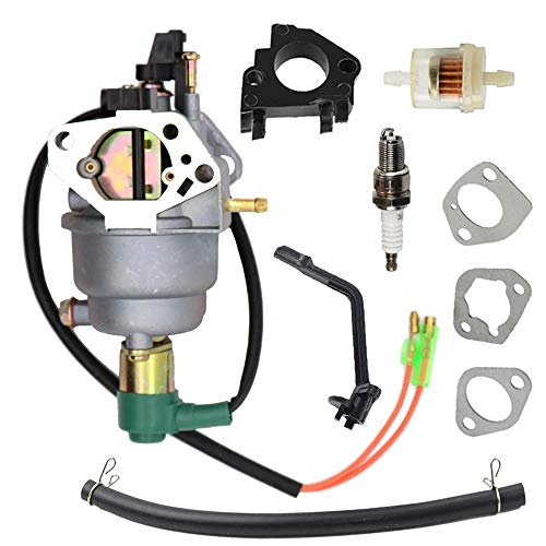 SAKITAM Manual Choke Carburetor Carb with Gaskets Fuel Filter Spark Plug Kit for Champion Power CPE 41119 338CC OHV 5400 6400W Generator