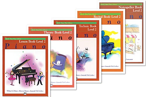 Alfred's Basic Piano Library: Level 2 Books Set (5 Books) - Lesson 2, Theory 2, Recital 2, Technic 2, Notespeller 2