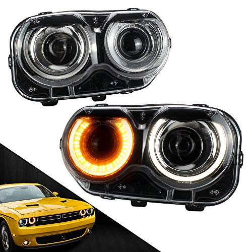 MICROPOWER LED Headlights for Dodge Challenger SRT Hellcat Coupe 3rd gen 2015 2016 2017 2018 SE RT,Modified Head Lamp with Dual Beam Lens DRLS,Driver and Passenger Side