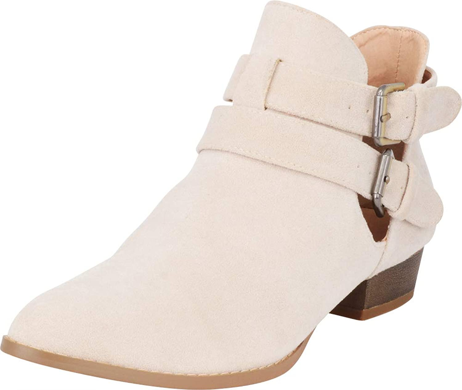 Cambridge Select Women's Western Pointed Toe Cutout Strappy Buckle Low Heel Ankle Bootie