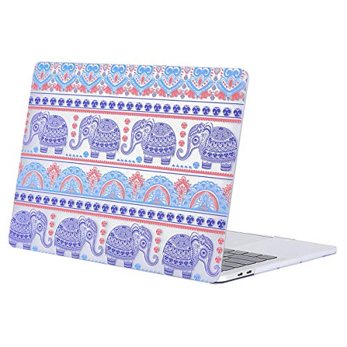 MOSISO MacBook Pro 13 inch Case 2016-2019 Release A2159 A1989 A1706 A1708, Plastic Pattern Hard Case Shell Cover Compatible with MacBook Pro 13 with/without Touch Bar, Bohemian Elephant
