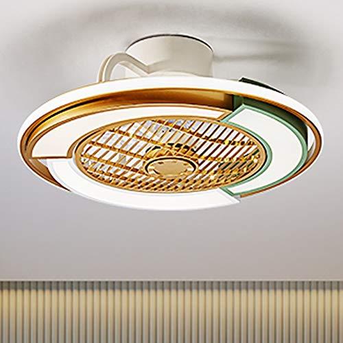JMSTT Lámpara de Ventilador de Techo Invisible Dormitorio nórdico hogar Moderno Estudio Minimalista Restaurante Restaurante Ventilador eléctrico lámparas de Techo,52cm