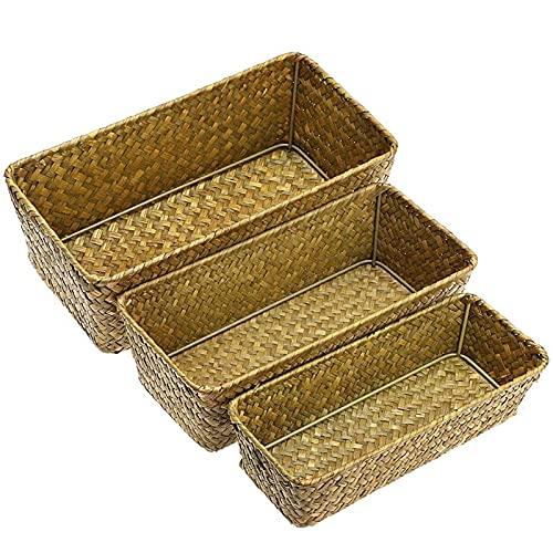 shandianniao Conjunto de 3 cestas de Almacenamiento de anidación de pastos Marinos Naturales y Bins del Organizador de hogar. (Color : Natural)