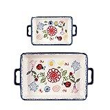 Rectangle Baking Dish,Porcelain Bakeware Set of 2, Floral Pizza Pie...