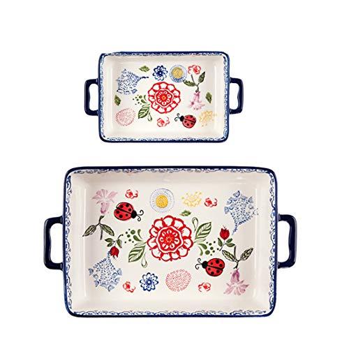 Juego de 2 fuentes de porcelana para el horno, rectangulares, con diseño floral, ideal para hacer pizzas y pasteles de queso