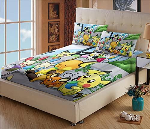 Drap housse pour lit à sommier tapissier 180 x 200 - Drap housse Pokémon Pikachu - Drap housse en microfibre avec poche élastique tout autour - Avec 2 taies doreiller (#10,180 x 200 cm + 80 x 80 cm).