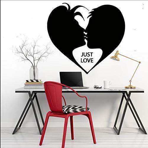 Zaosan Pintura Decorativa romántica para Pared Dos Amantes Beso corazón Silueta Arte diseño Vinilo Apliques Negro 57x50cm