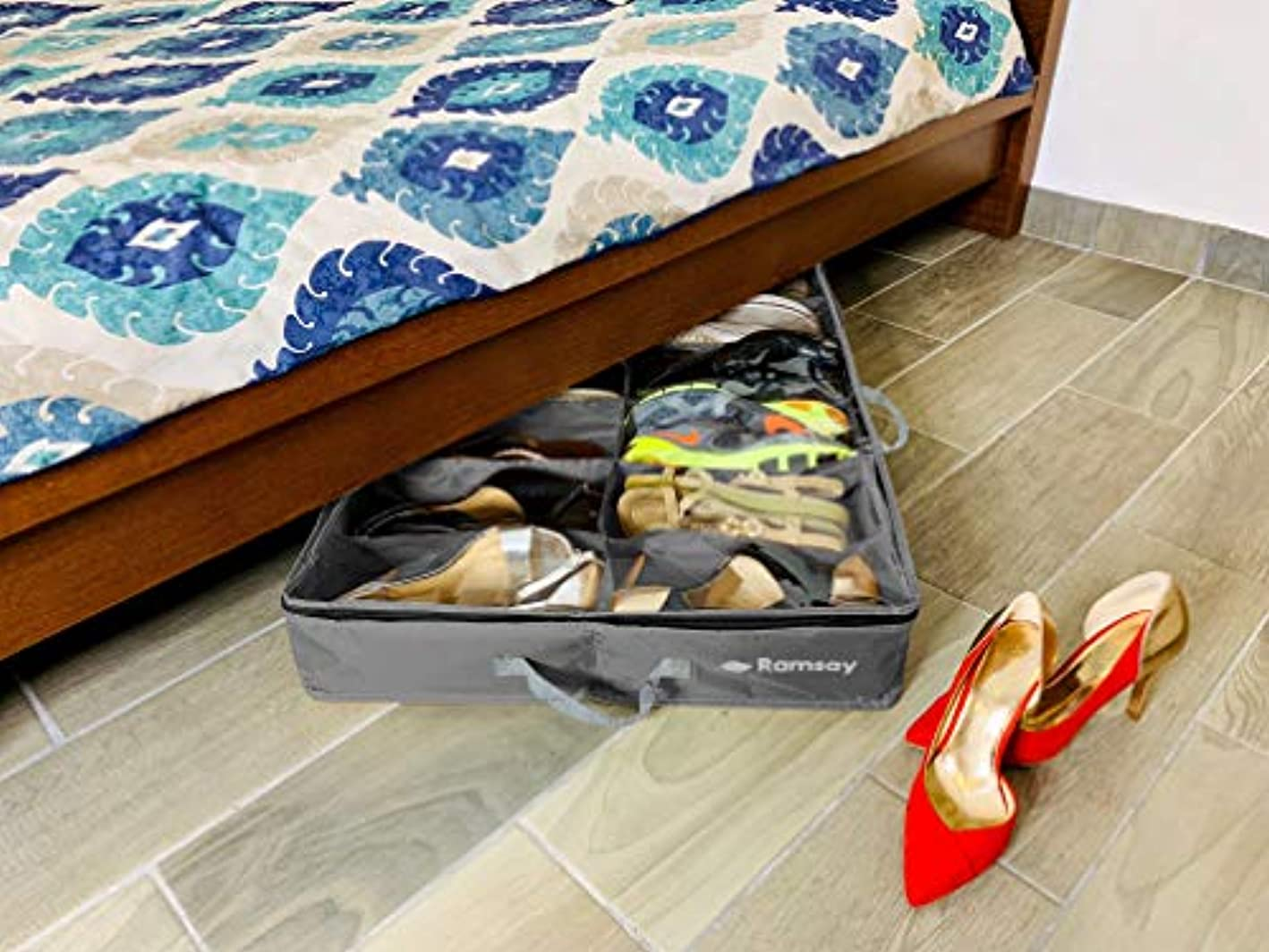 Ramsay Under Under Bed Shoe Storage Organizer Strong and Sturdy,Double, Dust Free Design, Space Saver, 12 Pair Front Zippered Closure, Grey