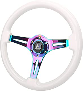 HiwowSport 14'(350mm) Wood Grain Steering Wheel 6 Bolts 1.5' Depth Dish Gold Chrome Spoke Fit for Acura White Color
