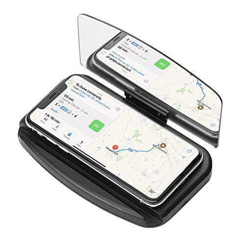 ASOOLL Car HUD Holder Head up Display Cradle Cell Phone Navigation GPS Holder with HD Image Reflection Projection Wireless Charger for HUD,Smart Phone Holder Mount