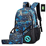 Pawsky School Backpack for Boys, 14 Inch Laptop Backpack with USB Charging Port, Anti-theft Lock, Lunch Bag & Pencil Case, Lightweight Water Resistant Bookbag Daypack