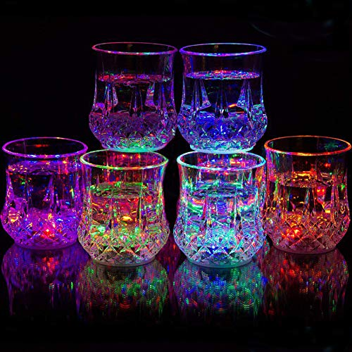 Set of 6 Flashing Cups - Flashing Shots,Flash Light Up Cups,Multicolor LED Tumblers,Fun Light Up Drinking Glasses,Fun Cups for Party/Birthday/Night Clubbing/Christmas/Disco BPA-Free (Transparent, 7 oz