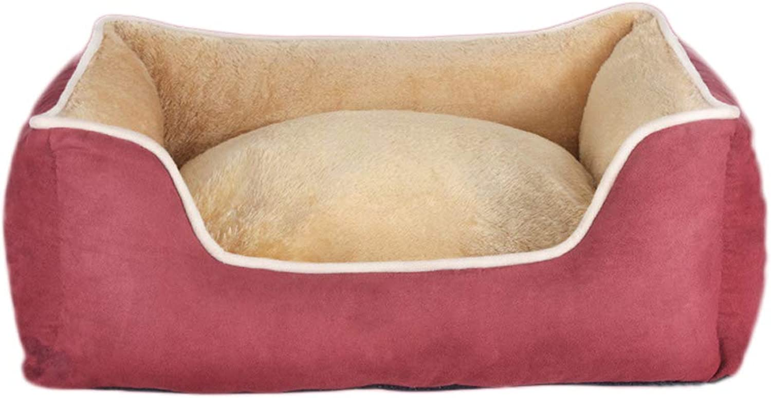 Kennel, Removable Washable Four Seasons Pet Mat Large Medium Small Dog Winter Warm Products, Three colors Optional (color   Red, Size   S)