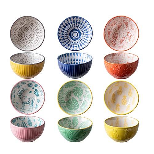 Cuencos de inmersión de porcelana, tazón de sopa de ensalada, tazones de cuencos de bocadillos para plato lateral, tazones de patrones lindos, tazones de cereales de cerámica de estilo japonés, contro