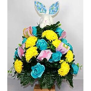 XL Easter Bunny Artificial Silk Flower Cemetery Bouquet Vase Arrangement