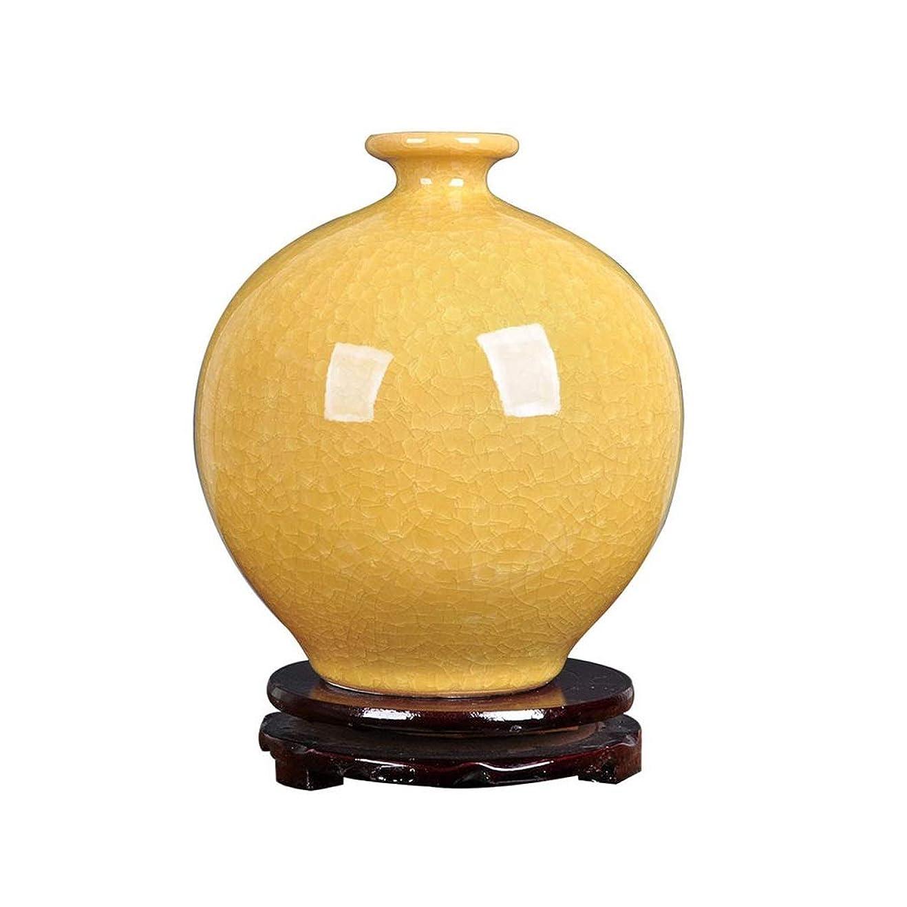 暖かく偽善者ほめるCHANG-dq 小口径花瓶、ラウンドセラミック花瓶ドライフラワーフェイクフラワーフラワー容器イエローデスクトップ花瓶サイズ18 * 18 * 21センチメートル バルコニー花瓶 (Size : 18*18*21CM)