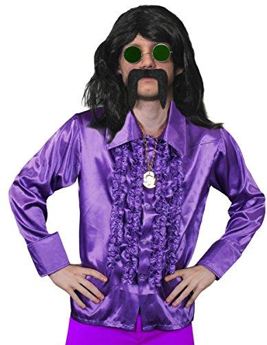 Disfraz para hombre de los años 70 de Disco, vestido largo negro para hombre, camisa de disco, medallón dorado, cristales verdes y bigote negro, disfraz de fantasía Funky FANCY - camisa púrpura (XXL)