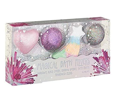 Lot de 4 bombes de bain parfumées arc-en-ciel magique à paillettes en forme de cœur