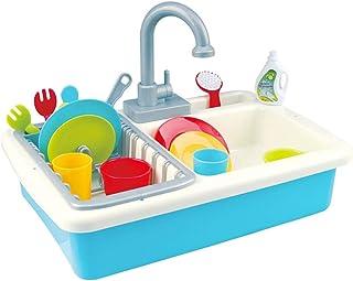台所の食器洗い用クリーニングキット パズルプレイ家のおもちゃ 台所の流し玩具 シミュレーションの蛇口 - 水 幼稚園のロールプレイング玩具 男の子と女の子への贈り物 (Color : Blue-A, Size : 78*23*27CM)