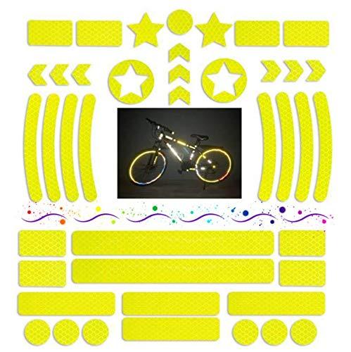 LATTCURE 42 Stück Leuchtaufkleber, selbstklebend Reflektoren Aufkleber Sticker set, Reflexsticker reflektierende Aufkleber für Kinderwagen Fahrrädern Jogging