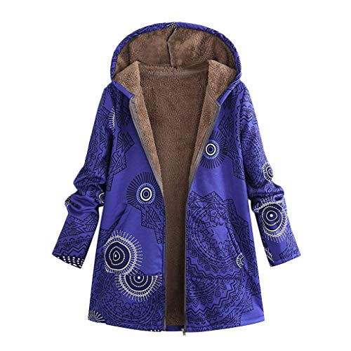 VEKDONE Women Casual Winter Warm Thicken Sherpa Fleece Lined Floral Printed Zip Up Hooded Jacket Parka Coat Plus Size(Blue,Small)