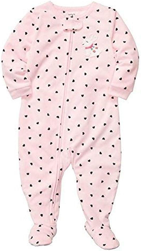 Carter's Little Girls' Fleece Footed Sleeper Pajamas- Bunny Hearts - 4T Pink