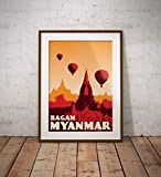 AZSTEEL Vintage Poster Myanmar - Bagan - Fine Art Print