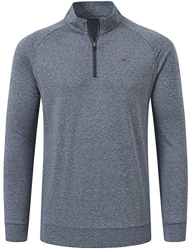 MoFiz Men's Golf Shirts Long Sleeve Shirts Sports Jacket Shirts Athletic Jersey Shirts Half Pull On Zipper Gray Size XL