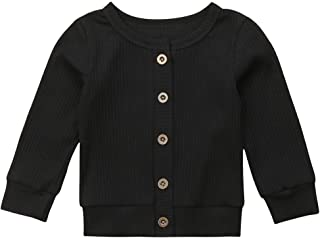 Infant Baby Unisex Cardigan Jacket Long Sleeve Round Neck Knitted Sweater Solid Colour Button Closure Warm Coat Outwear 0-...