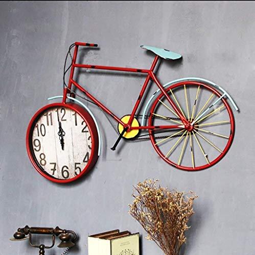 Pkfinrd Relojes de Alarma Vintage Industrial Viento labrado Hierro de Hierro Reloj de Pared Creativo Pared decoración Sala de Estar Dormitorio Bicicleta decoración artesanía