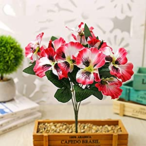 Artificial and Dried Flower European Decorative Fake Flower Creative Simulation Pansy Decorative Floral Home Flower Green Plant – ( Color: Pink )