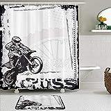 Juego de Cortinas y tapetes de Ducha de Tela,Motocicleta Motocross Rider Imagen Grunge Fondo Cartel Estilo Monocromo O,Cortinas de baño repelentes al Agua con 12 Ganchos, alfombras Antideslizantes