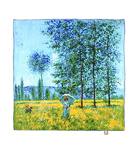 laprée - Bufanda de Seda Cuadrada Reproducción de la Pintura Claude Monet...