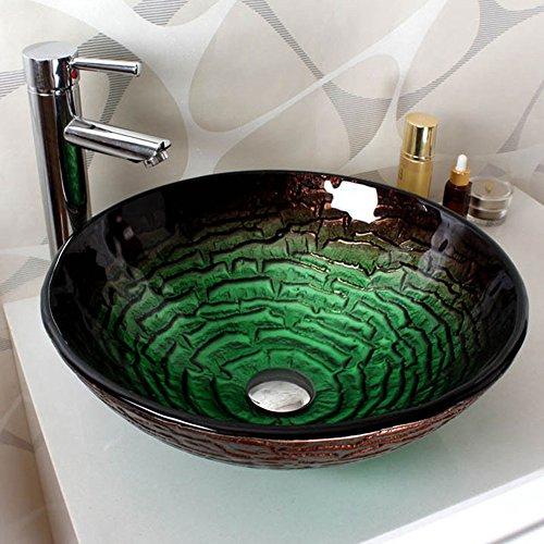 HomeLava Modern Rund Grün Gehärtetes Glas Waschbecken mit Ablaufgarnitur, Montagering