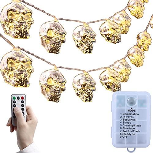 Auplew Catena luminosa per Halloween con testa a ossa, 20 LED, 8 modalità, con telecomando, 3 metri, impermeabile, a batteria