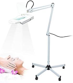 Lámpara de pie profesional con lupa de pie 220 V – 240 V, 5 X con lupa LED, con brazo de soporte ajustable, plegable y desmontado, para joyeros, relojeros y esteticistas